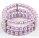 Wholesale Multi Strands Purple Shell Beads Stretch Bangle Bracelet with Rhinestone