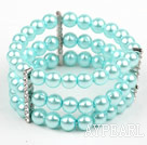 Multi Strands Lake Blue Shell perler Stretch Bangle Bracelet med Rhinestone