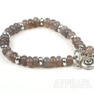 Classic Design Faceted Gray Agate Stretch Bangle Bracelet