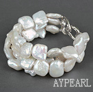 Wholesale Three Strands White Square Shape Rebirth Pearl Bracelet