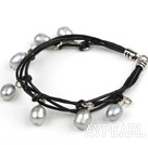Wholesale 8-9mm Gray Freshwater Pearl Bracelet with Black Leather Cord