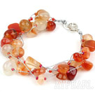 Multi Strands Natural Color Agate Armband med silver färg Wire