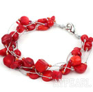 Multi Strands Assorted Red Coral Bracelet with Silver Color Wire