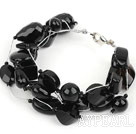 Multi Strands Assorted Black Agate Bracelet with Silver Color Wire