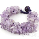 Fet stil Multi Strands Purple Jade Chips vävt armband