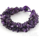 Bold Style Multi Strands Amesthyst Chips Woven Bracelet