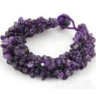 Wholesale Bold Style Multi Strands Amesthyst Chips Woven Bracelet