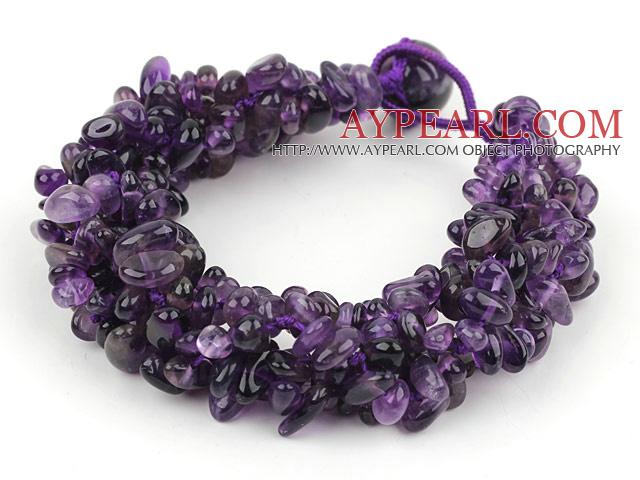 Bold Style Multi Strands Amesthyst Chips Woven Bracelet
