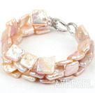 Wholesale Three Strands Square Shape Pink Rebirth Pearl Bracelet with Heart Shape Clasp