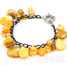 Wholesale Dyed Yellow Pearl Crystal and Shell Bracelet with Metal Chain
