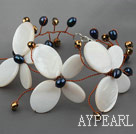 Wholesale Elegant Style Betterfly Shape White Shell and Pearl Crystal Bracelet