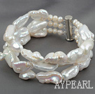 Three Strands Big Style White Rebirth Pearl Bracelet