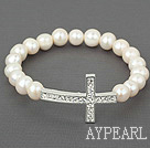 Natural White Freshwater Pearl Sideway/Side Way Cross Stretch Bracelet