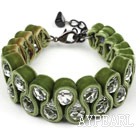 Fashion Style Clear Crystal and Olive Green Velvet Ribbon Woven Bold Bracelet with Extendable Chain