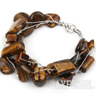 Multi Strands Tiger Eye Bracelet with Silver Color Wire