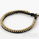 Fashion Style Yellow Copper Beads Hand-Knotted Black Leather Bracelet