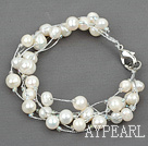 Wholesale Multi Strands White Freshwater Pearl with Silver Color Wire