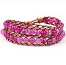 Wholesale New Design Two Rows Red Carnelian and Leather Wrap Bangle Bracelet