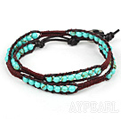 New Design Two Rows Truquoise and Leather Wrap Bangle Bracelet