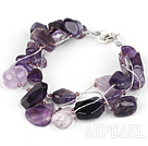 Wholesale Multi Strands Assorted Amethyst Bracelet with Silver Wire