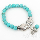 Simple Design Round Turquoise Beaded Stretch Bracelet with Double Fish Accessories