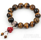 14mm Round Tiger Eye Beaded Stretch Prayer / Rosary Bracelet with Sterling Silver Beads