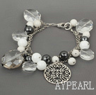 Wholesale Assorted White Series Clear Crystal and Tungsten Steel Stone White Porcelain Stone Bracelet
