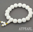 12mm Round Carved Lotus White Sea Shell Beaded Stretch Prayer / Rosary Bracelet