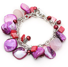 Wholesale Assorted Purple Freshwater Pearl and Rose Quartz and Purple Shell Bracelet with Metal Chain