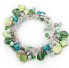 Assorted Green Freshwater Pearl Crystal and Green Shell and Turquoise Bracelet with Metal Chain
