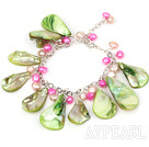 Assorted Green Drop Shape Shell and Pink Pearl Bracelet with Metal Chain