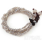 Wholesale 4mm Multi Strand Faceted Gray Agate Bold Style Bracelet