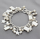 Assorted Natural White Freshwater Pearl and White Shell Bracelet with Metal Chain