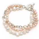 Fashion Style Multi Strand Natural White and Pink Freshwater Pearl Bracelet with Metal Chain