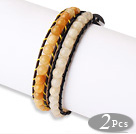Trendy Simple Design 2 pcs Single Strand Roung Topaz Beaded Leather bracelet