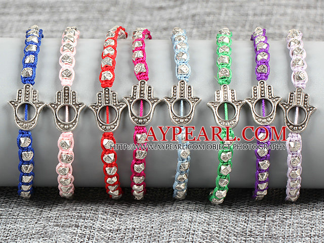 8 PCS Hipanema Nickel Free Alloyed Hand of Angel Charm Multi Color Thread Hand-Knitted Bracelet (Random Color)