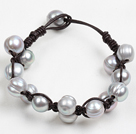 Popular Style 10-11Mm Natural Grey Freshwater Pearl Black Leather Bracelet