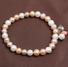 Simple Elegant Style 7-8Mm Natural White Pink Purple Freshwater Pearl Elastic/ Stretch Bracelet