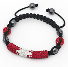 Fashion Style Gradual Change Red Rhinestone Tube and Tungsten Steel Stone Drawstring Bracelet