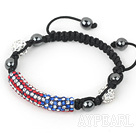 Fashion Style Red and Blue Rhinestone Tube and Tungsten Steel Stone Drawstring Bracelet