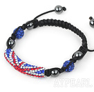 Fashion Style Red White and Blue Rhinestone Tube and Tungsten Steel Stone Drawstring Bracelet