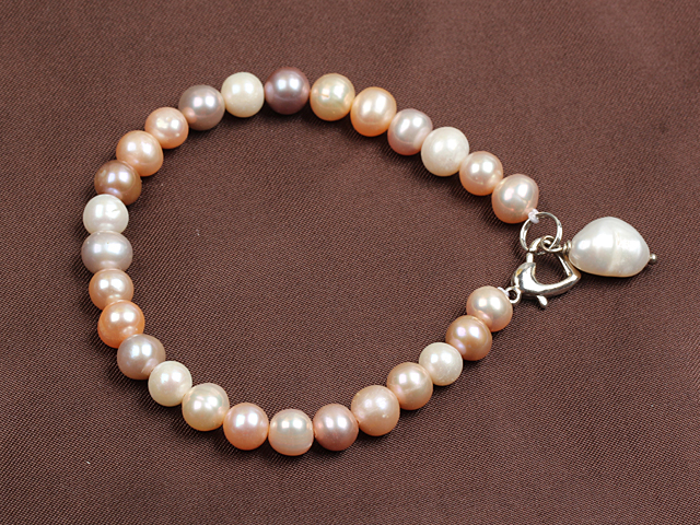 Simple Elegant Style 7-8Mm Natural White Pink Purple Freshwater Pearl Elastic/ Stretch Bracelet With Pearl Charm