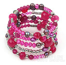 2013 Spring Design Hot Pink Series Pearl Crystal og Pink Agate Wrap Bangle Bracelet