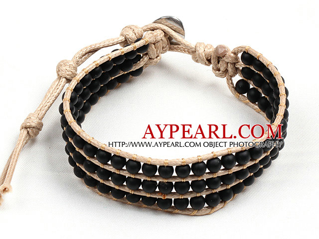 Popular Style Three Layer Black Stone Needle Beads Wrap Bangle Bracelet