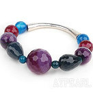 Assorted Purple Series Purple and Black and Red and Blue Faceted Agate Stretch Bangle Earrings