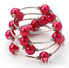 Mote Stil Peach Red Round Seashell Wrap Bangle Bracelet