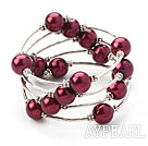 Mote Stil Purple Red Round Seashell Wrap Bangle Bracelet