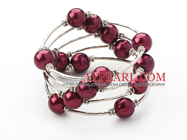 Fashion Style Purple Red Round Seashell Wrap Bangle Bracelet