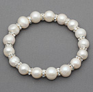 Classic Design Round Natural White Freshwater Pearl and Rhinestone Ring Stretch Bangle Bracelet