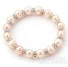 Classic Design Round Natural Pink Freshwater Pearl and Rhinestone Ring Stretch Bangle Bracelet